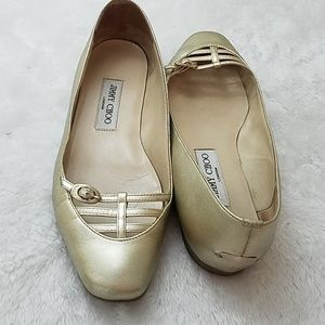 Jimmy Choo Willow Sz 37 gold leather ballet flats